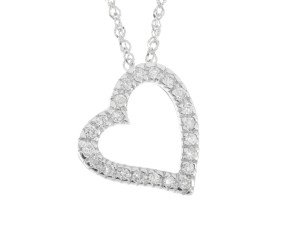 9ct White Gold 0.13ct Diamond Heart Pendant