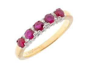 9ct Yellow Gold 0.60ct Ruby & Diamond Half Eternity Ring