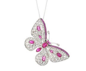 Sterling Silver Synthetic Ruby Butterfly Brooch / Pendant