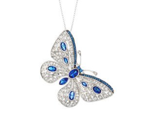 Sterling Silver Synthetic Sapphire Blue Butterfly Brooch / Pendant