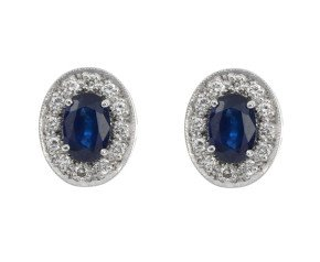 18ct White Gold 1.10ct Sapphire & 0.20ct Diamond Cluster Stud Earrings