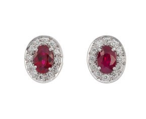 18ct White Gold 1ct Ruby & 0.20ct Diamond Cluster Stud Earrings