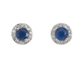 9ct White Gold Sapphire & Diamond Cluster Stud Earrings