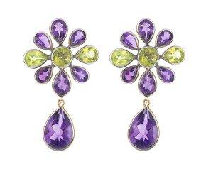 Amethyst & Peridot Drop Earrings