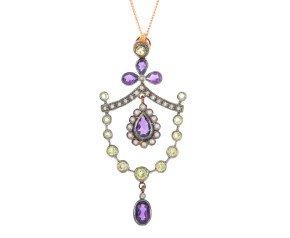 Amethyst, Peridot & Diamond Pendant