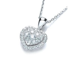 18ct White Gold 0.40ct Diamond Heart Pendant