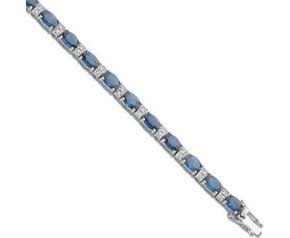 18ct White Gold 7.50ct Sapphire & 0.22ct Diamond Bracelet