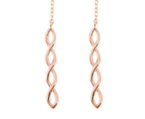9ct Rose Gold Plait Threader Earrings