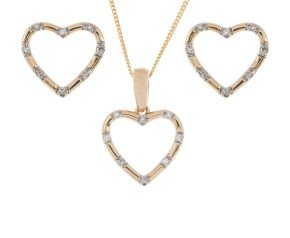9ct Yellow Gold Diamond Heart Pendant & Earrings Set