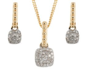 Limited Edition 9ct Yellow Gold 0.10ct Diamond Pendant & Earrings Set