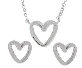 9ct White Gold Heart Pendant & Earrings Jewellery Set