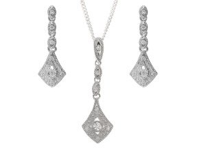 9ct White Gold Diamond Pendant & Earrings Jewellery Set