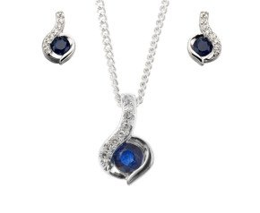 9ct White Gold Sapphire & Diamond Pendant & Earrings Jewellery Set