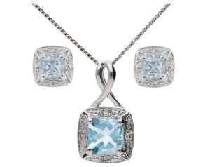 9ct White Gold Aquamarine & Diamond Pendant & Earrings Jewellery Set