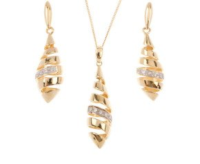 9ct Yellow Gold Diamond Spiral Pendant & Earrings Jewellery Set