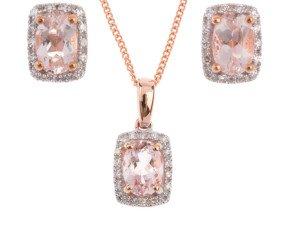 9ct Rose Gold Morganite & Diamond Cluster Pendant & Earrings Jewellery Set