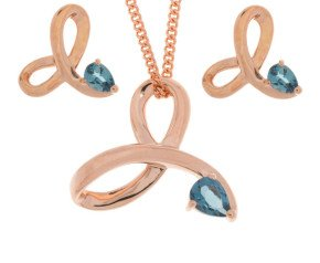 9ct Rose Gold London Topaz Pendant & Earring Jewellery Set