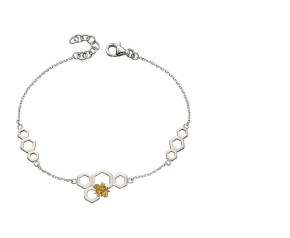 Sterling Silver & Yellow Gold Plated Honeycomb & Bee Bracelet