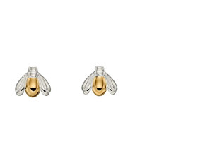 Sterling Silver & Yellow Gold Plated Bee Stud Earrings