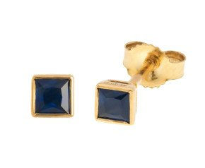 9ct Yellow Gold 3mm Sapphire Square Shape Stud Earrings