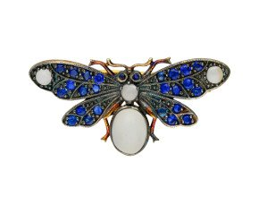 Sapphire, Diamond & Moonstone Bee Brooch