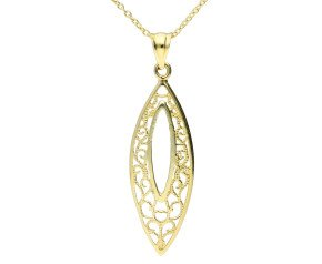 9ct Yellow Gold Fancy Marquise Shaped Pendant