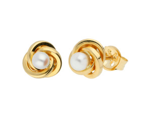 9ct Yellow Gold Freshwater Pearl Square Edge Knot Stud Earrings