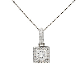 18ct White Gold 0.31ct Diamond Halo Pendant