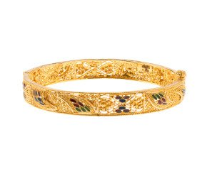 Pre-Owned Enamelled Gold Intricate Bangle
