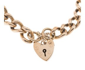 Pre-Owned 9ct Gold Curb & Heart Padlock Bracelet