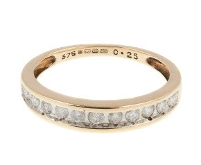 Pre-owned 9ct Yellow Gold 0.25ct Diamond Half Eternity Ring