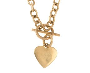 Pre-Owned 9ct Gold Oval Belcher & Heart Chain Necklace