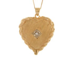Pre-owned 9ct Yellow Gold Diamond heart Pendant