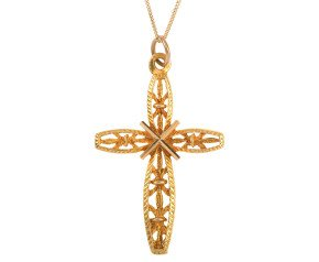 Vintage 1970's 9ct Yellow Gold Cross Pendant