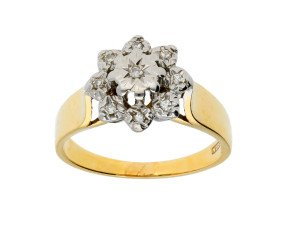 Vintage 1970's 9ct Yellow Gold Diamond Cluster Ring
