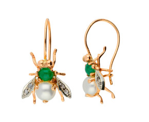 Handcrafted Italian Pearl, Emerald & 0.10ct Diamond Bee Drop Earrings