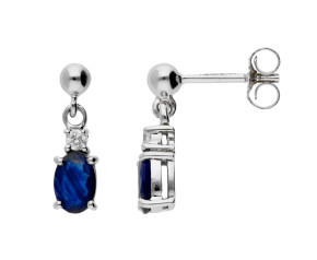 9ct White Gold 1.00ct Sapphire & Diamond Drop Earrings
