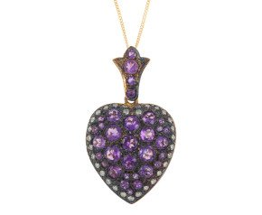 Victorian Inspired Amethyst  & 0.60ct Diamond Heart Locket