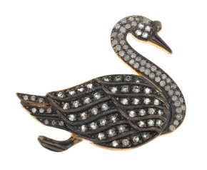 0.35ct Diamond & Aquamarine Swan Brooch