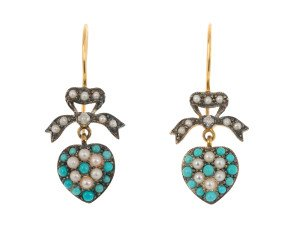 Victorian Inspired turquoise & Split Pearl Fancy Drop Earrings