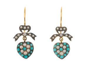 Edwardian Inspired turquoise & Split Pearl Fancy Drop Earrings