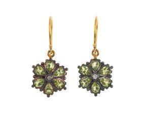 Peridot & Diamond Floral Drop Earrings
