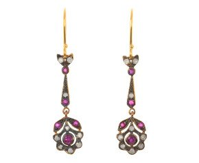 Ruby & Diamond Fancy Drop Earrings