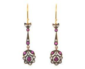 Ruby & Diamond Fancy Drop Earrings