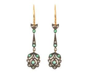 Emerald & Diamond Fancy Drop Earrings