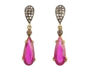 5.65ct Glass-Filled Ruby & 0.25ct Diamond Drop Earrings