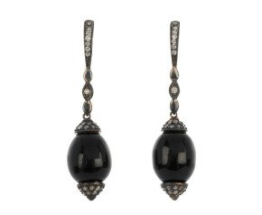 Art Deco Inspired 0.40ct Diamond & Onyx Drop Earrings
