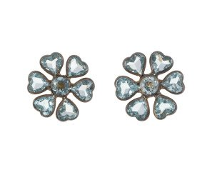Topaz & Diamond Floral Stud Earrings