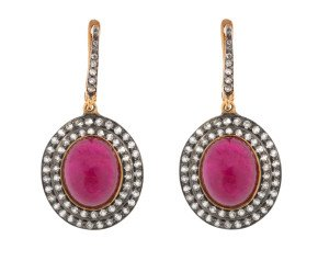 12ct Glass-Filled Ruby & 1.15ct Sapphire Cluster Drop Earrings