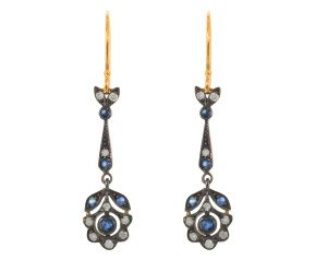 Sapphire & Diamond Fancy Drop Earrings